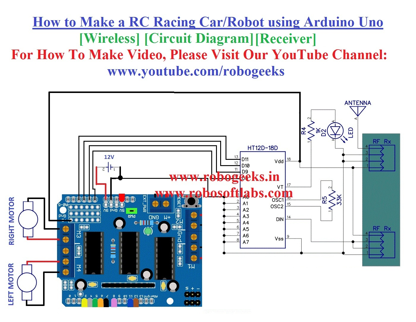 how to make a rc racing car using arduino uno wireless receiver robogeeks