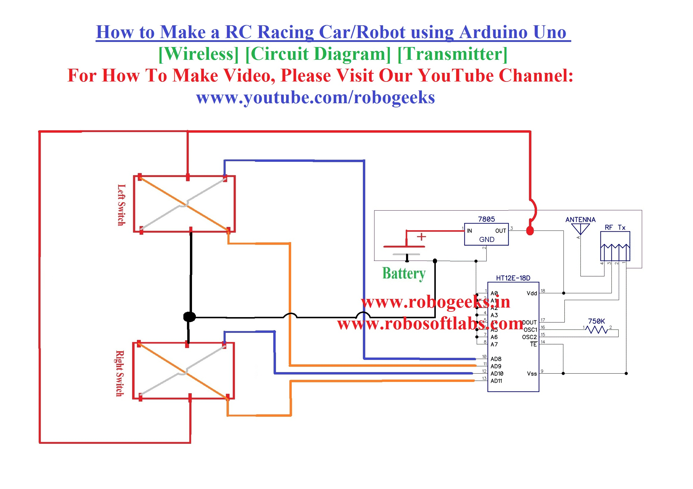 How To Make A Rc Racing Car Robot Using Arduino Uno Wireless Wiring Diagram Transmitter Robogeeks